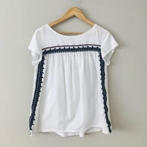 Loft Embroidered White Cotton Top